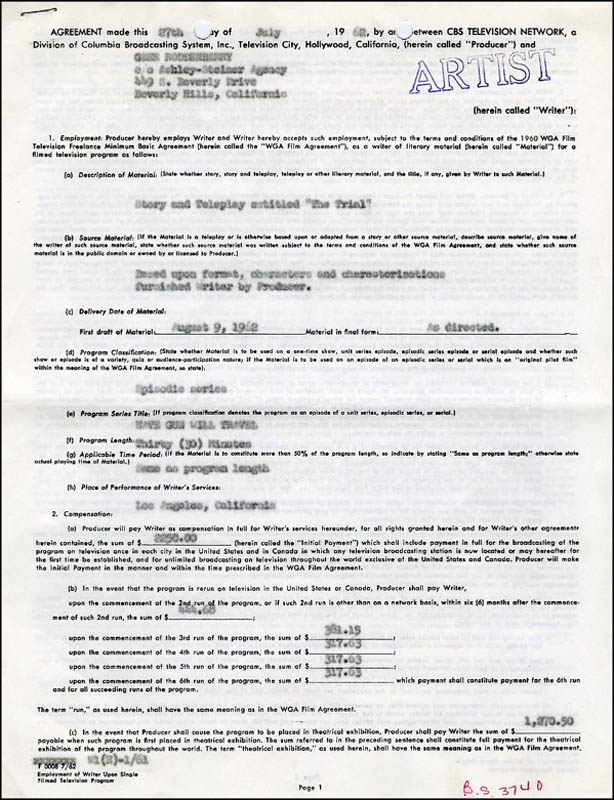 Image 3 for Gene Roddenberry - Document Signed 07/27/1962 - HFSID 271195