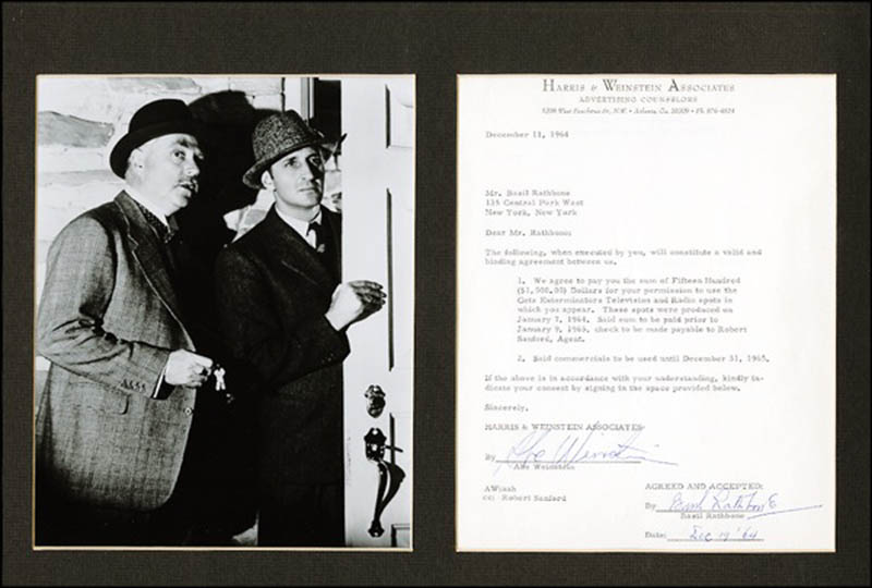 Image 1 for Basil Rathbone - Document Signed 12/19/1964 - HFSID 271280