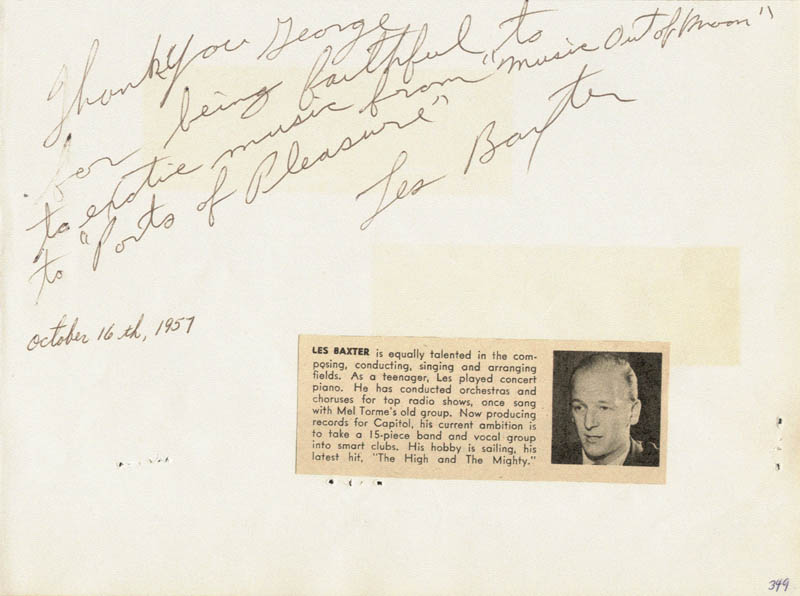 Image 1 for Les Baxter - Autograph Note Signed Circa 1957 - HFSID 27143