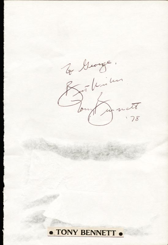 Image 1 for Tony Bennett - Autograph Note Signed 1978 - HFSID 27149