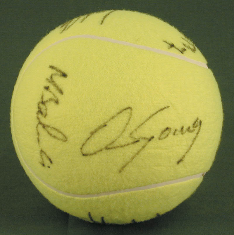Image 4 for Jimmy Connors - Tennis Ball Signed co-signed by: John Mcenroe, Bjorn Borg, Andres Gomez, Mats Wilander, Henri Le Conte - HFSID 272093