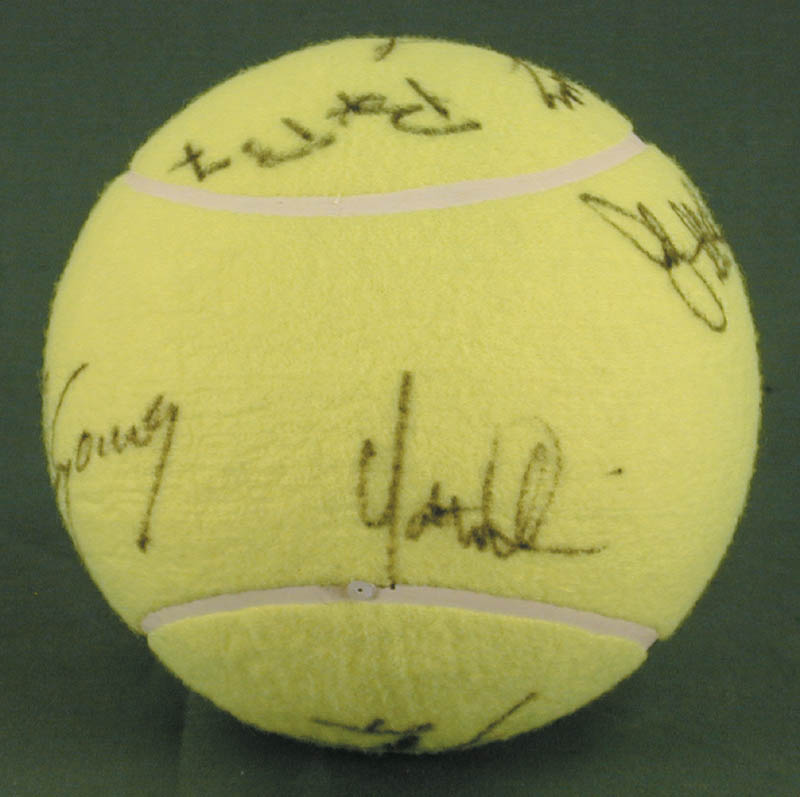 Image 5 for Jimmy Connors - Tennis Ball Signed co-signed by: John Mcenroe, Bjorn Borg, Andres Gomez, Mats Wilander, Henri Le Conte - HFSID 272093
