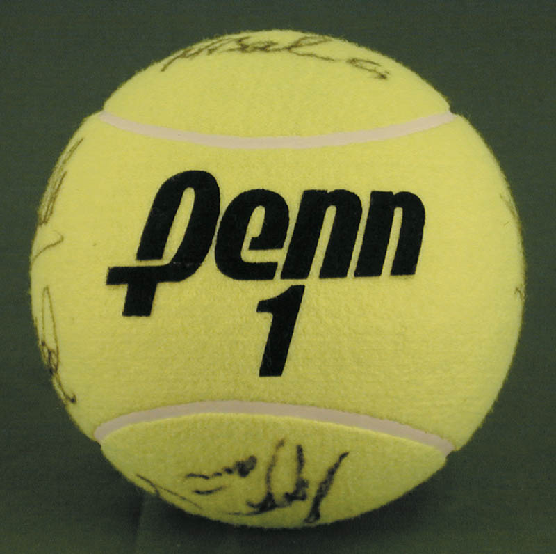 Image 7 for Jimmy Connors - Tennis Ball Signed co-signed by: John Mcenroe, Bjorn Borg, Andres Gomez, Mats Wilander, Henri Le Conte - HFSID 272093