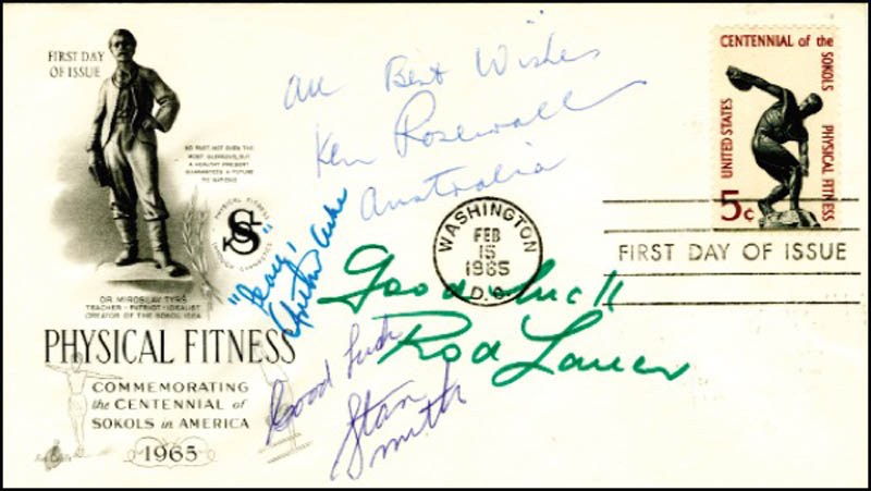 Image 1 for Arthur Ashe - First Day Cover With Autograph Sentiment Signed co-signed by: Rod Laver, Ken Rosewall, Stan (Stanley Roger) Smith - HFSID 272094