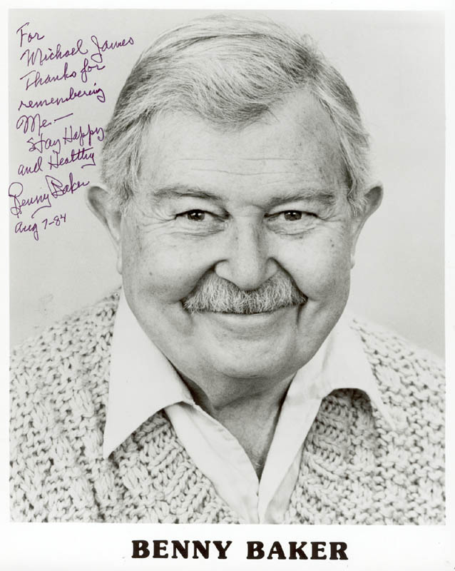 Image 1 for Benny Baker - Autographed Inscribed Photograph 08/07/1984 - HFSID 272180