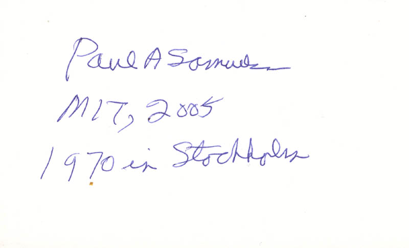 Image 1 for Paul A. Samuelson - Autograph 2005 - HFSID 272315