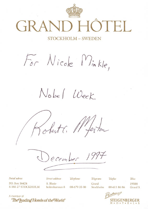 Image 1 for Robert C. Merton - Autograph Note Signed 12/1997 - HFSID 272324