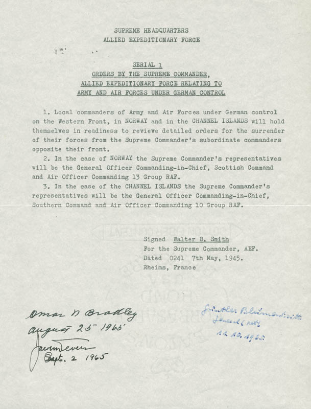 Image 1 for General Omar N. Bradley - Typescript Signed 08/25/1965 co-signed by: General Jacob L. Devers, General Gunther Blumentritt - HFSID 272391