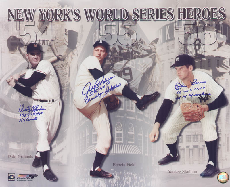 Image 1 for Dusty (James) Rhodes - Autographed Signed Photograph co-signed by: Johnny Podres, Don Larsen - HFSID 272475