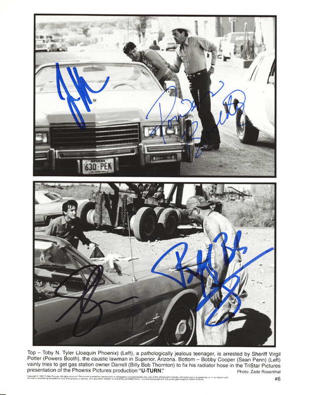 Image 1 for U Turn Movie Cast - Autographed Signed Photograph co-signed by: Sean Penn, Billy Bob Thornton, Joaquin Phoenix, Powers Boothe - HFSID 272508