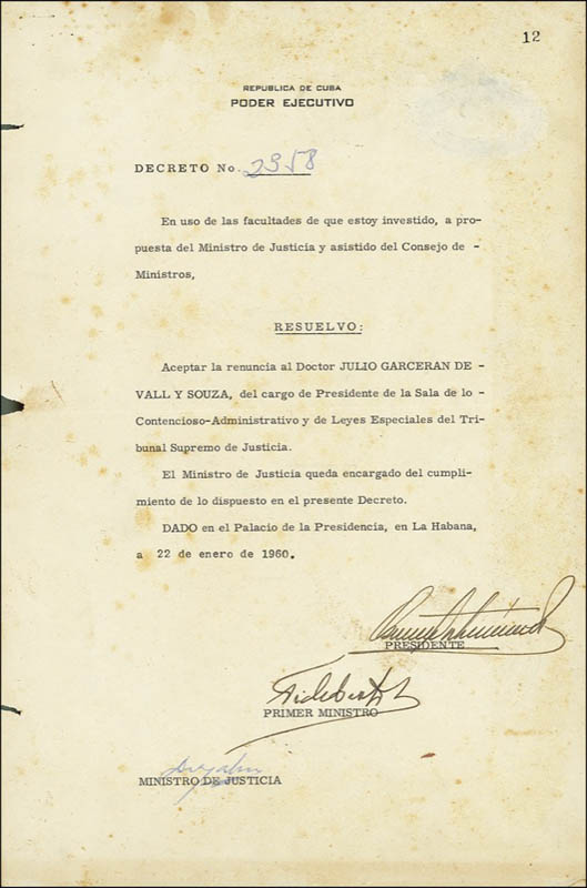 Image 1 for President Fidel Castro (Cuba) - Document Signed 01/22/1960 co-signed by: President Osvaldo Dorticos (Cuba) - HFSID 272517