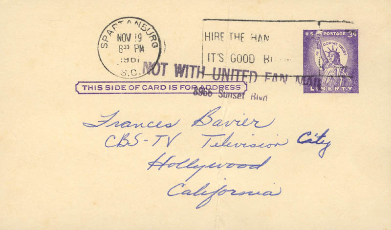 Image 3 for Frances E. Bavier - Autograph Note Signed Circa 1961 - HFSID 272611