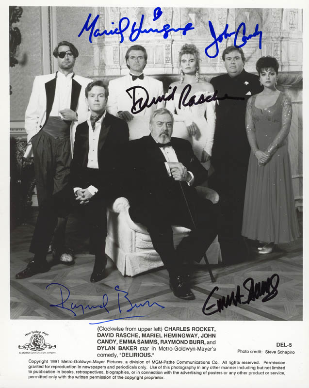 Image 1 for Delirious Movie Cast - Autographed Signed Photograph co-signed by: John Candy, Raymond Burr, Mariel Hemingway, Emma Samms, David Rasche - HFSID 272668