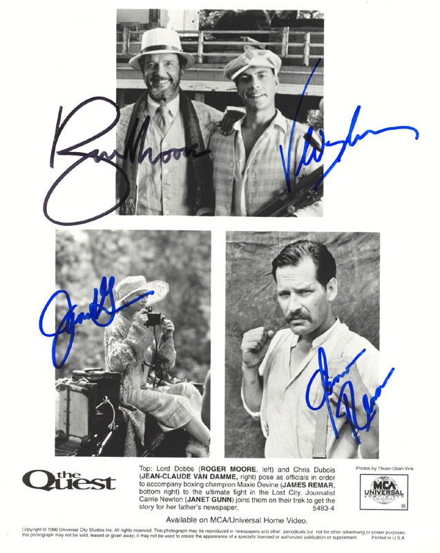 Image 1 for The Quest Movie Cast - Autographed Signed Photograph co-signed by: Roger Moore, Jean Claude Van Damme, Janet Gunn, James Remar - HFSID 272669