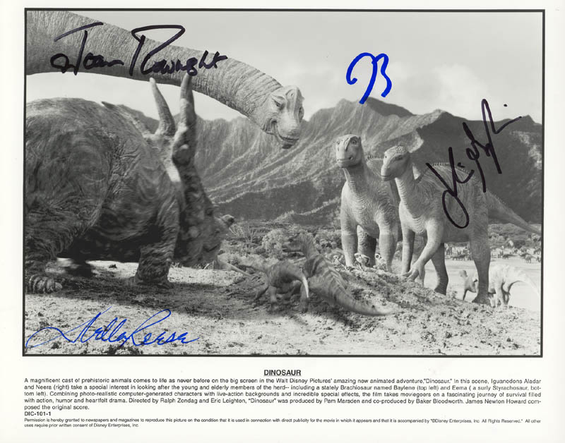 Image 1 for Dinosaur Movie Cast - Autographed Signed Photograph co-signed by: Joan Plowright, Della Reese, Julianna Margulies, D. B. Sweeney - HFSID 272673