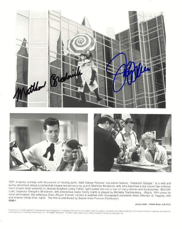 Image 1 for Inspector Gadget Movie Cast - Printed Photograph Signed In Ink co-signed by: Matthew Broderick, Joely Fisher - HFSID 272682