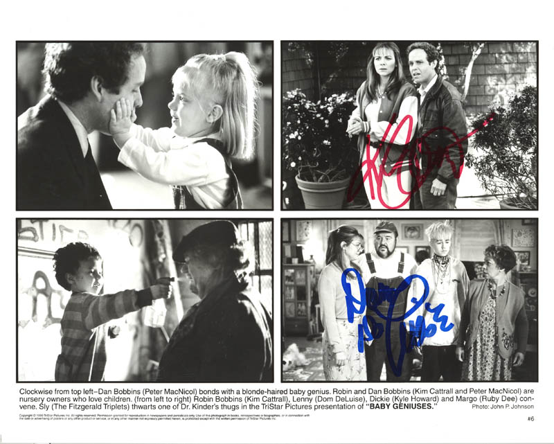 Image 1 for Baby Geniuses Movie Cast - Autographed Signed Photograph co-signed by: Dom Deluise, Kim Cattrall - HFSID 272685