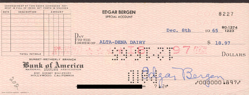 Image 1 for Edgar Bergen - Autographed Signed Check 12/08/1965 - HFSID 272761