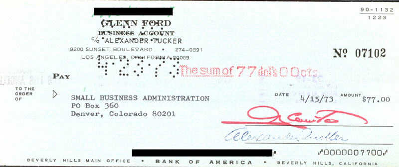 Image 1 for Glenn Ford - Autographed Signed Check 04/15/1973 - HFSID 272775