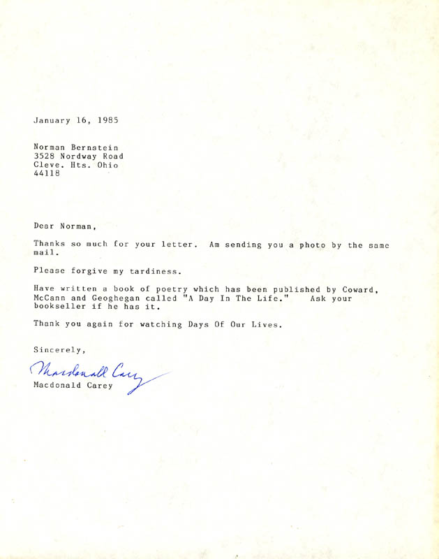 Image 1 for Macdonald Carey - Typed Letter Signed 01/16/1985 - HFSID 272786