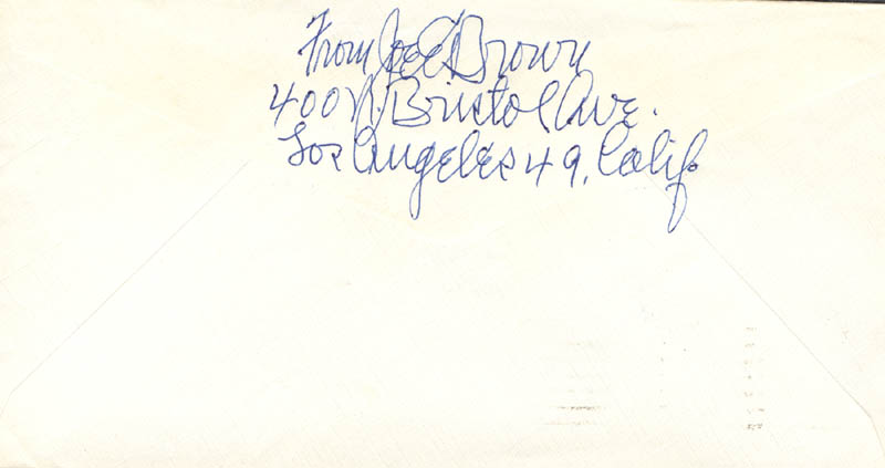 Image 1 for Joe E. Brown - Autograph Envelope Signed Circa 1966 - HFSID 272797