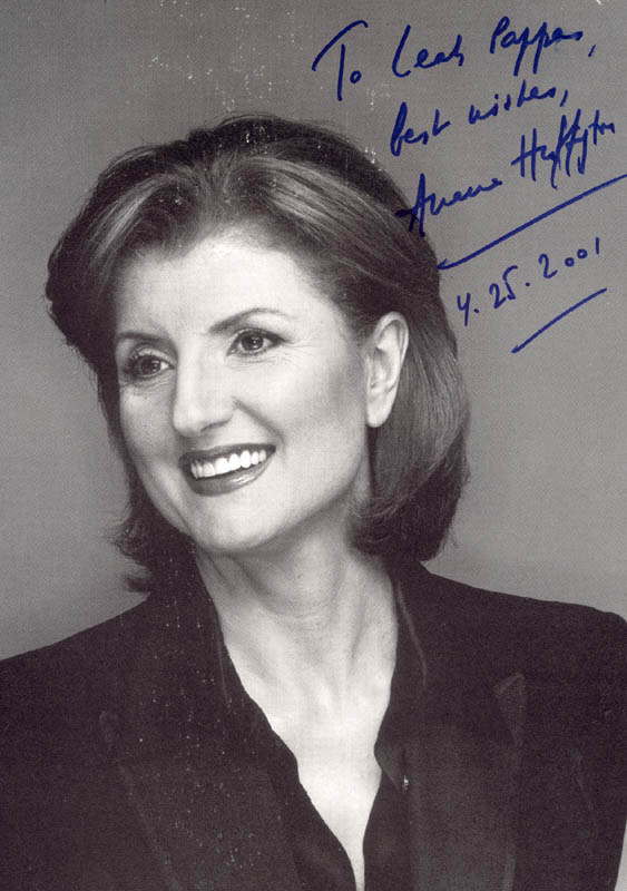 Image 1 for Arianna Huffington - Autographed Inscribed Photograph 04/25/2001 - HFSID 272931
