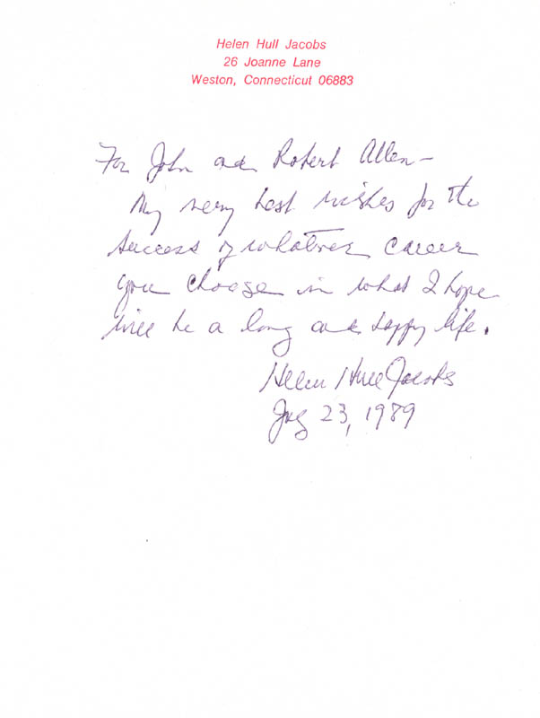 Image 1 for Helen Hull Jacobs - Autograph Letter Signed 07/23/1989 - HFSID 272969
