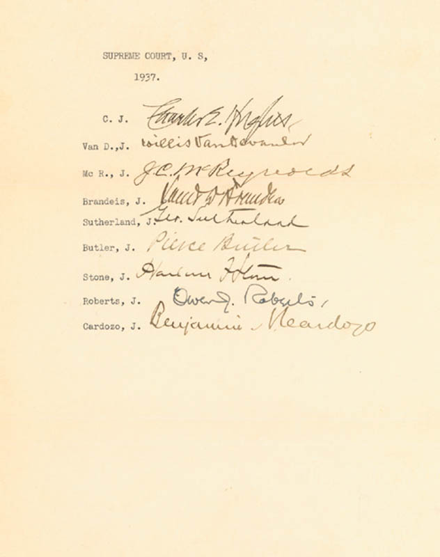 Image 1 for Charles Evans Hughes Court - Autograph 1937 with co-signers - HFSID 273001