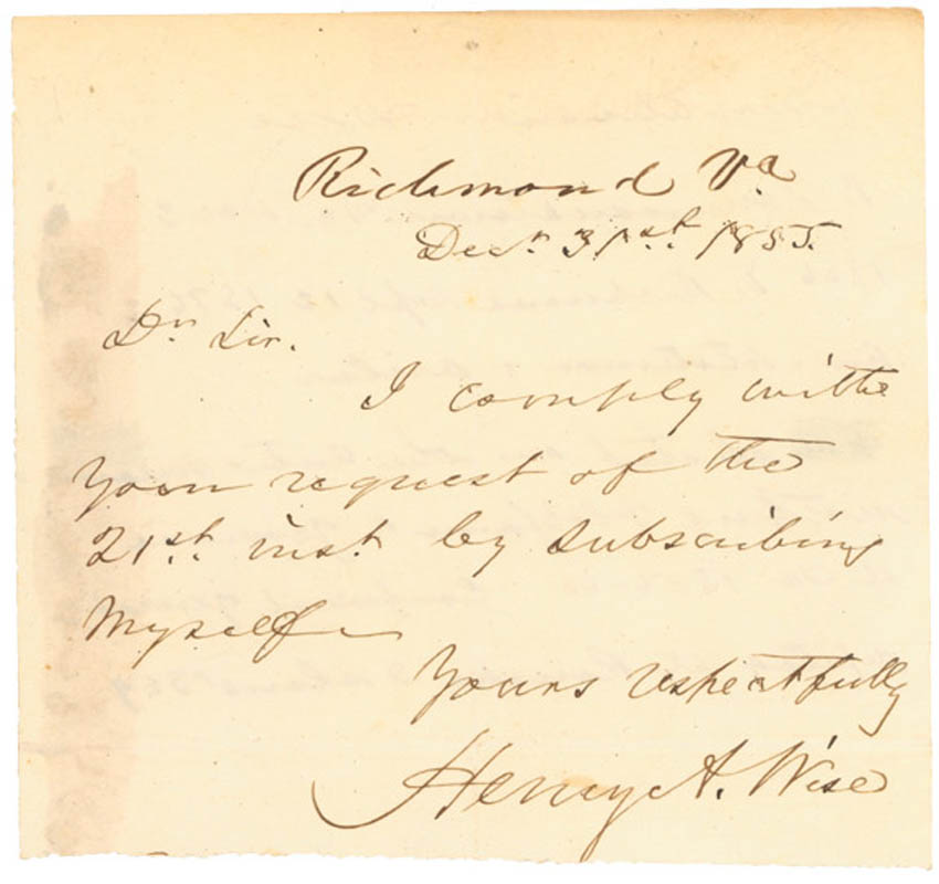 Image 1 for Brigadier General Henry A. Wise - Autograph Letter Signed 12/31/1855 - HFSID 273017