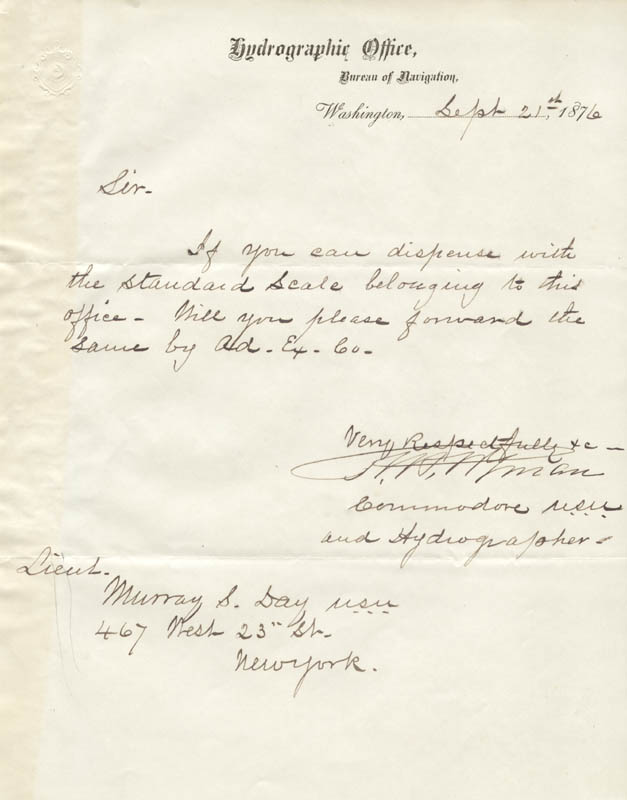 Image 1 for Rear Admiral Robert Wyman - Manuscript Letter Signed 09/21/1876 - HFSID 273025