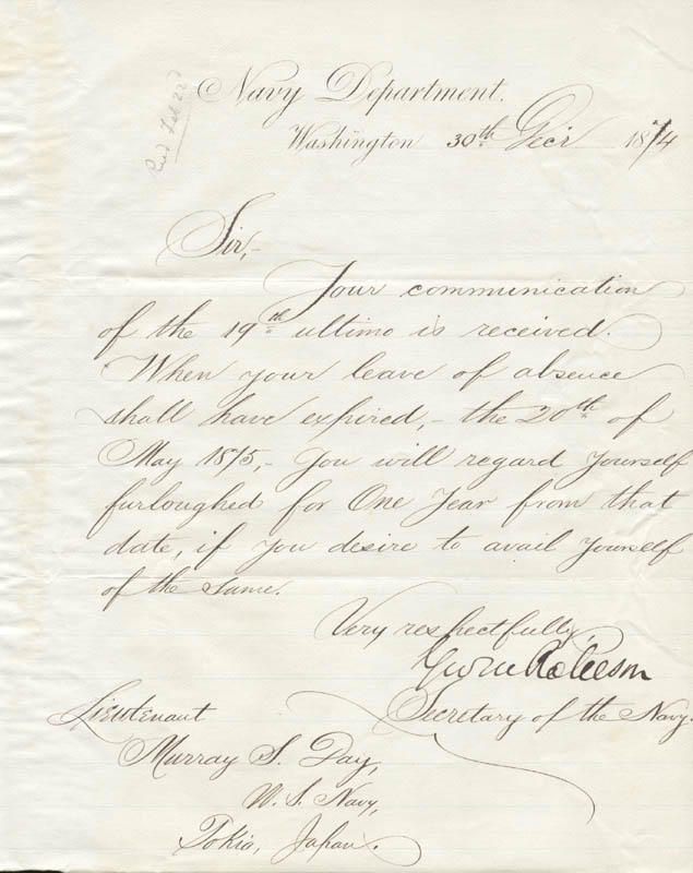 Image 1 for George M. Robeson - Manuscript Document Signed 12/30/1874 - HFSID 273026