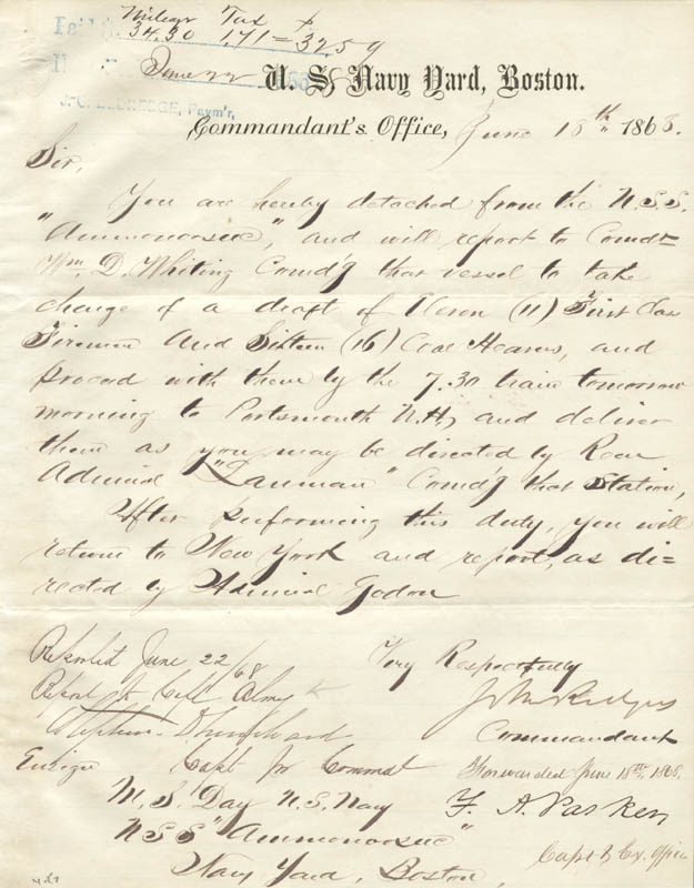 Image 1 for Admiral John Rodgers Jr. - Manuscript Document Signed 06/18/1868 with co-signers - HFSID 273027