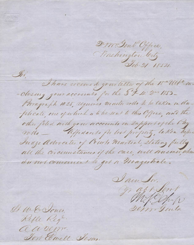 Image 1 for Brigadier General Thomas S. Jesup - Manuscript Letter Signed 02/21/1854 - HFSID 273043