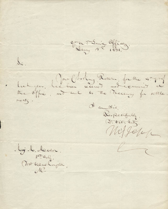 Image 1 for Brigadier General Thomas S. Jesup - Manuscript Letter Signed 01/18/1831 - HFSID 273045