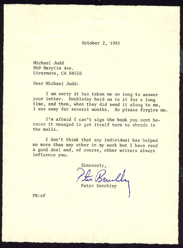 Image 1 for Peter Benchley - Typed Letter Signed 10/02/1981 - HFSID 273067