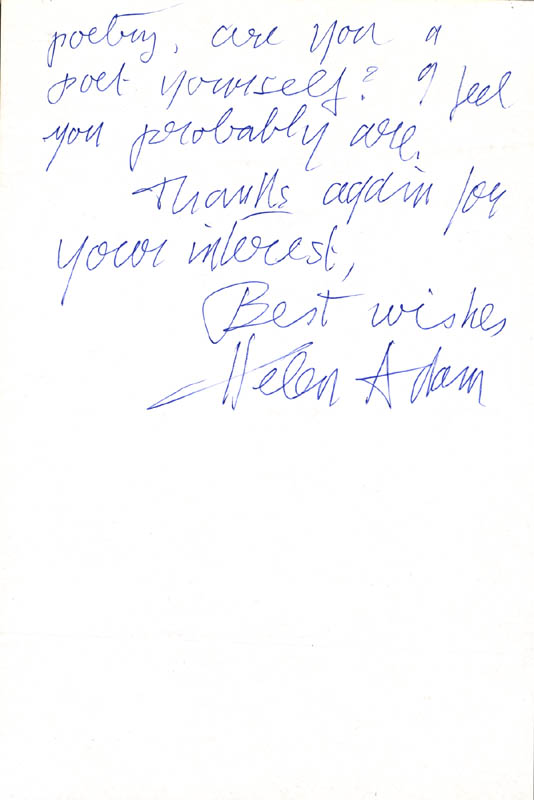 Image 1 for Helen Adam - Autograph Letter Signed 03/02/1985 - HFSID 273071