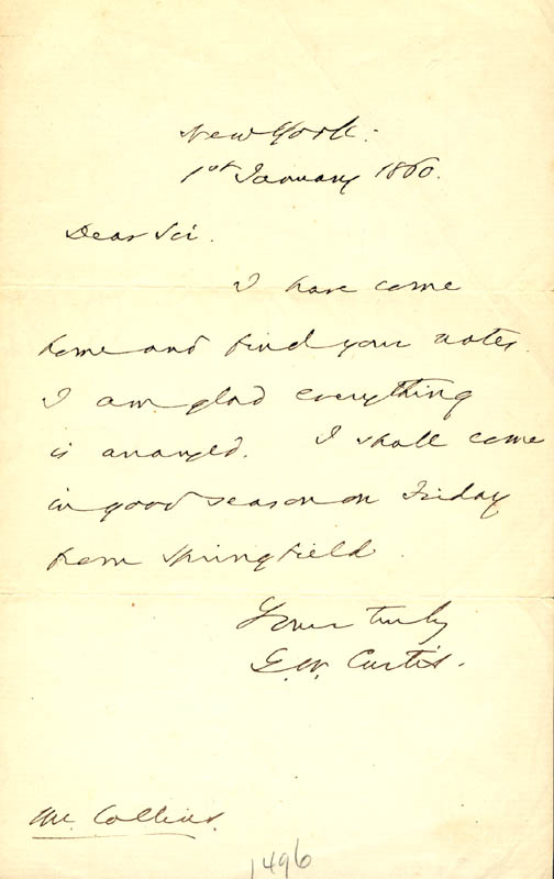 Image 1 for George William Curtis - Autograph Letter Signed 01/01/1860 - HFSID 273083