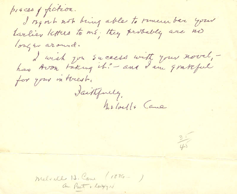 Image 1 for Melville Cane - Autograph Letter Signed 10/25/1957 - HFSID 273114