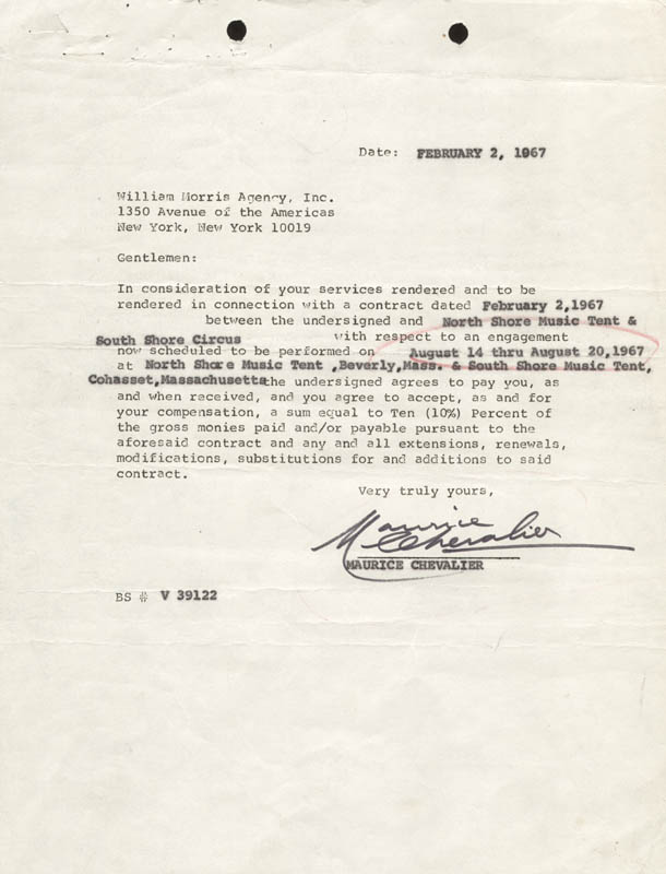Image 1 for Maurice Chevalier - Contract Signed 02/02/1967 - HFSID 273163