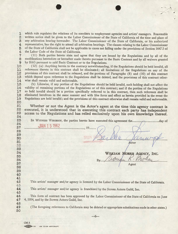 Image 1 for Barbara Stanwyck - Contract Signed 01/15/1962 - HFSID 273165
