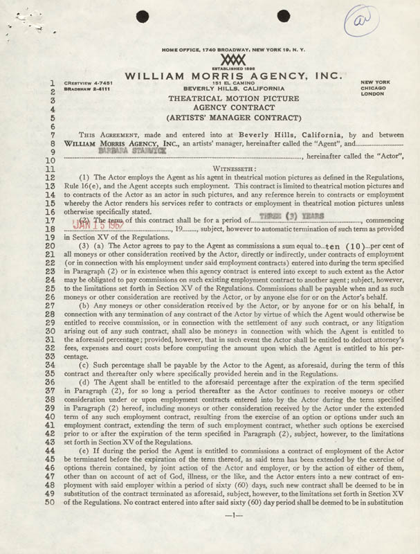 Image 3 for Barbara Stanwyck - Contract Signed 01/15/1962 - HFSID 273165