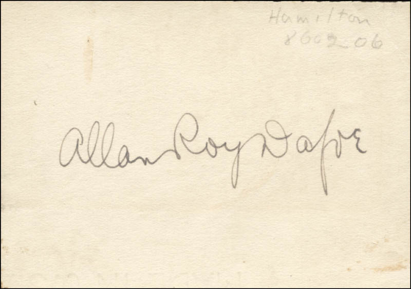 Image 1 for Allan Dafoe - Autograph - HFSID 273172