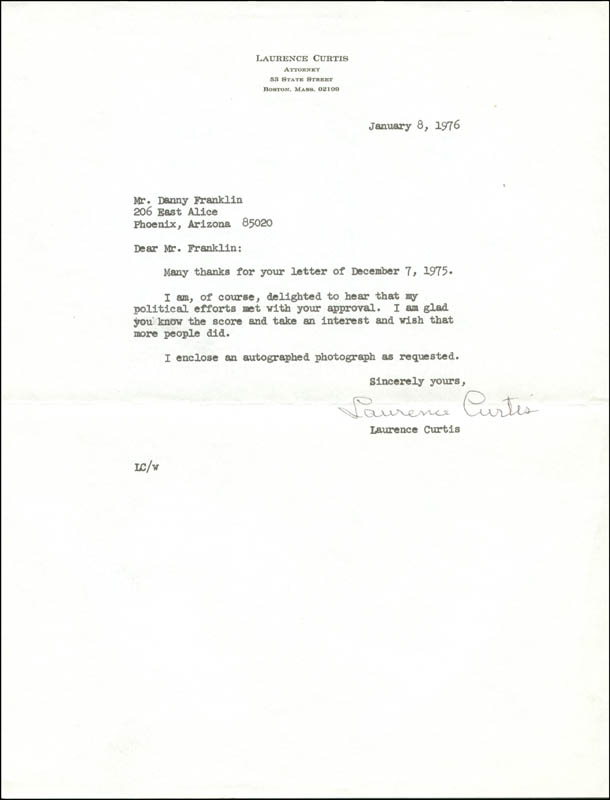 Image 1 for Laurence Curtis - Typed Letter Signed 01/08/1976 - HFSID 273348