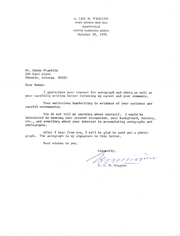 Image 1 for A. Lee M. Wiggins - Typed Letter Signed 10/30/1974 - HFSID 273455
