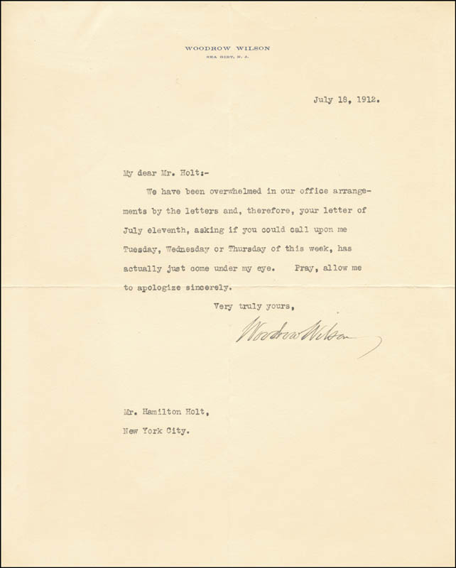 Image 1 for President Woodrow Wilson - Typed Letter Signed 07/18/1912 - HFSID 27374