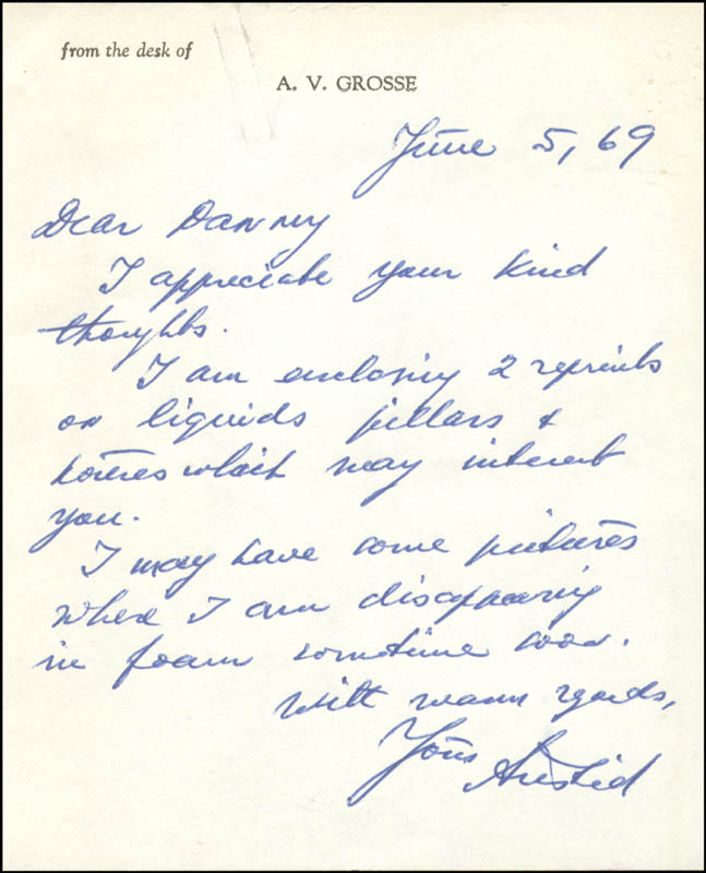 Image 1 for Aristid Von Grosse - Autograph Letter Signed 06/05/1969 - HFSID 273799