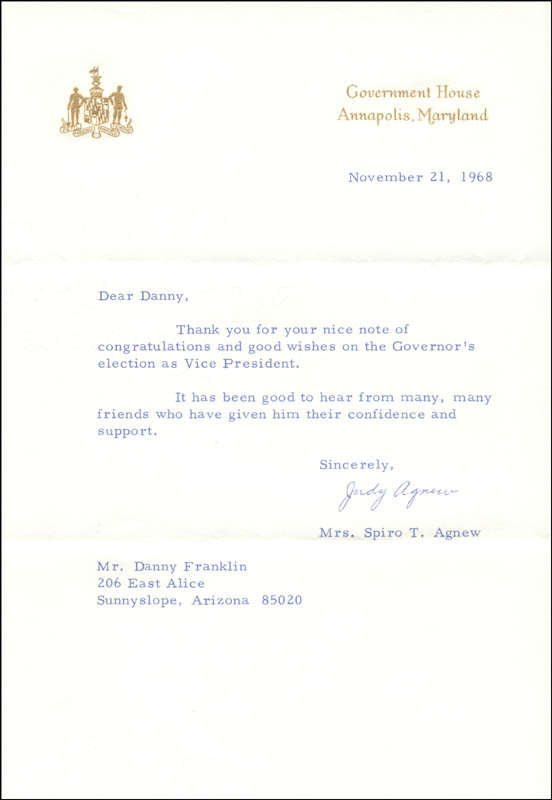 Image 1 for Judy (Mrs. Spiro) Agnew - Typed Letter Signed 11/21/1968 - HFSID 273812