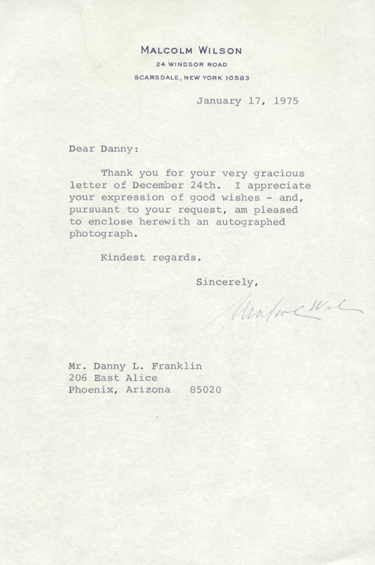 Image 1 for Malcolm Wilson - Typed Letter Signed 01/17/1975 - HFSID 273863