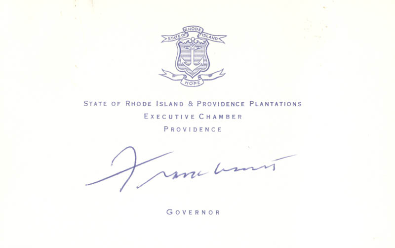 Image 1 for Governor Frank Licht - Printed Card Signed In Ink - HFSID 273869