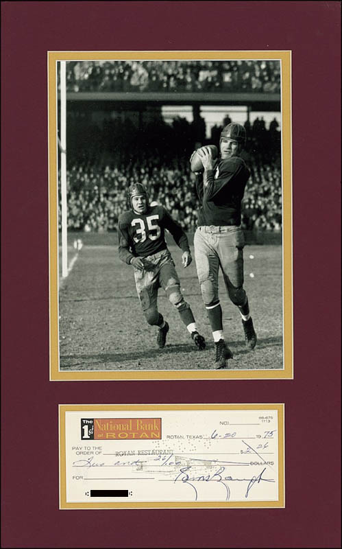 Image 1 for Sammy Baugh - Autographed Signed Check 06/20/1975 - HFSID 274070